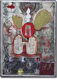"Jesus Polanco: Madrigal (2002) Ink and Collage on Panel 30""x22"""